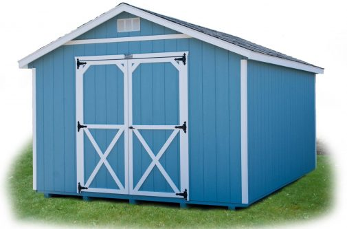 Blue Cottage Shed by Yoder Building Company